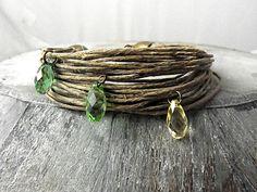 Wristbands – Natural linen bracelet SPRING DROPS – a unique product by VillaSorgenfrei on DaWanda