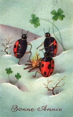 Vintage New Year Card ~ Ladybugs Winter Campfire! My Absolute Fav! Victorian Christmas, Vintage Christmas Cards, Vintage Holiday, Christmas Photos, Christmas Holidays, Xmas, Vintage Santa Claus, Vintage Santas, Vintage Pictures
