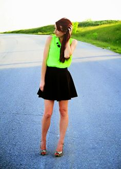 Sheer, neon button-up tank, skater skirt and heels....DATE NIGHT!