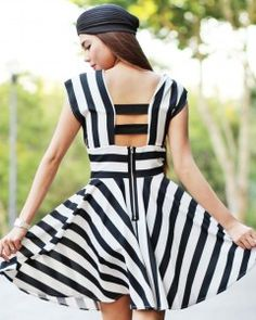 Black and white stripe dress with elastic