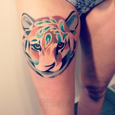Tiger tattoo. Love the way this is done. I would want a different animal though.