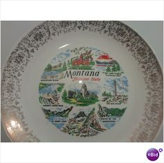 Vintage Gold Trimmed Montana Collectors Plate