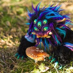 Sebard the doro have  found a tasty #amanita ! He  is available at REMJIE.COM! More pictures and detailed description can be found there ;) #originalart #demondoll #yokai #eyes #psychedelic #dorodoll #artdoll #instaart #artstagram #crafts #instagood #creature #doll #softsculpture #remjie #puppet #creepy #forestcreature #critter #fantasyart #ooak #creepydoll #demon #colorful