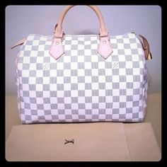 Louis Vuitton Speedy 30 Damier Azur In excellent condition. Looks brand new. Patina is still Very light. Had minor stain on the inside. It can be cleaned. Comes with dust bag, lock but no key. Better price elsewhere. Louis Vuitton Bags Satchels