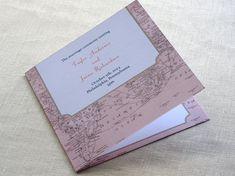 Vintage Map Wedding Program   Destination Travel by ImbueYouIDo, $2.00