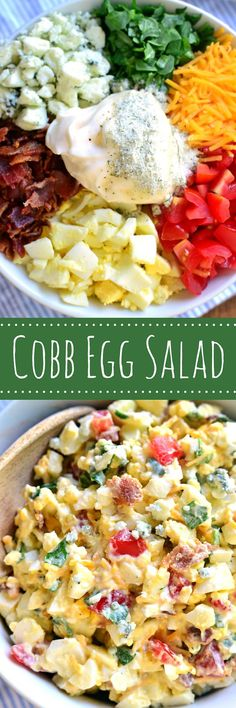 Egg Salad is loaded with all the flavors of cobb salad and is delicious in a sandwich or all on its own! Perfect for lunch with friends or a picnic at the park, this recipe takes egg salad to a whole new level!Cobb Egg Salad is loaded with all the flavors Egg Recipes, Lunch Recipes, Salad Recipes, Cooking Recipes, Healthy Recipes, Budget Cooking, Atkins Recipes, Picnic Recipes, Burger Recipes