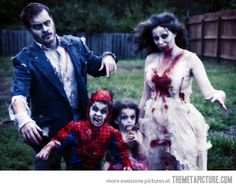 Happy little zombie family! What a great way to spend Halloween as a family! Haha