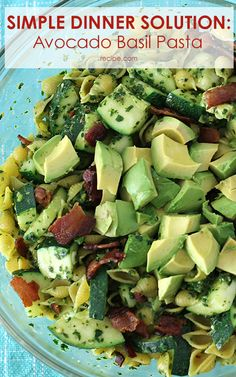 Pasta salad filled with bacon and fresh produce makes for a healthy and delicious side dish the whole family will love.