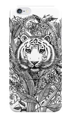 """Tiger Tangle in Black and White"" iPhone Cases by micklyn 