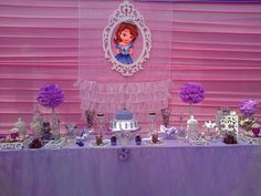 Sofia the First girl birthday party dessert table! See more party planning ideas at CatchMyParty.com!