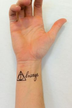 Giving all you HP fans the feels with this one. Two tattoos of the Deathly Hallows symbol and the saying Always from Harry Potter! Easy Application lasting 2-5 days.