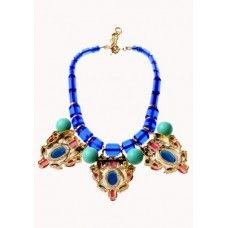 Trendy Retro Gems Bib Necklace Multi