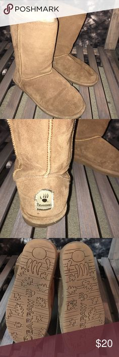BEARPAW BOOTS Tan BEARPAW boots size 8. Fairly worn but still have life in them! I bought them way to big and wore them for one winter season. They are perfect for very snowy and or rainy days when you don't want to ruin a really nice pair of boots! MAKE AN OFFER 👍🏼👍🏼👍🏼 BearPaw Shoes Winter & Rain Boots