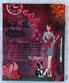 Hélène (Suila) création! Nathalie-paper doll étampe , mix media- toile canevas 8 X 10 .