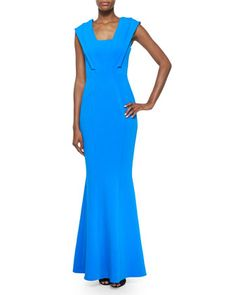 Emily Cap-Sleeve Mermaid Gown, Azul by ZAC Zac Posen at Neiman Marcus.