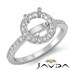 Unique Pave Diamond Engagement Proposed Ring Platinum 950 Round Semi Mount 0 85C | eBay
