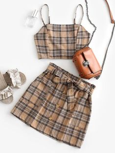 Plaid Smocked Buttons Belted Two Piece Suit - Light Khaki Xl Girls Fashion Clothes, Teen Fashion Outfits, Trendy Fashion, Girl Fashion, Girl Outfits, Daily Fashion, Style Fashion, Bikini Sets, Push Up Bikini