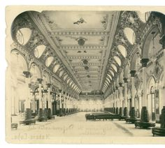 Interior view of the arched hall of the Asociación de Dependientes del Comercio building in Havana, Cuba