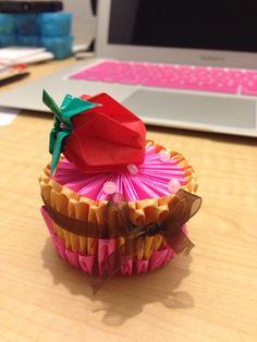 Strawberry cake origami