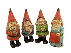 set of 4  garden gnome statues