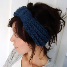 Chunky Knit Turban Headband Blue by ChiChiDee on Etsy, £16.00