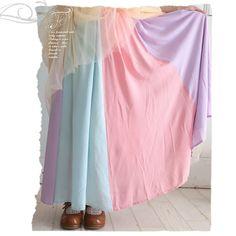 Japanese Style Original Design Rainbow Color Long Maxi Skirt Women Mori Girl Pleated Female Saias