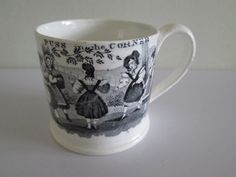 """Mid century inch child's mug """"Blind Man's Buff"""" Lots of common children's games appear on transferware plates and mugs: for . Childrens Cup, Baby Dishes, Pantry Storage, Antique China, Blinds, Pottery, Plates, Ceramics, Mugs"""