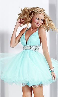 Short V-Neck Prom Dress by Hannah S at SimplyDresses.com