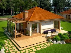 Modern Wood House Plans - Tradition In Contemporary Lines - Houz Buzz Minimalist House Design, Small House Design, Modern House Design, Micro House Plans, Modern House Plans, Indian House Plans, Beautiful House Plans, Porche, Outside Patio
