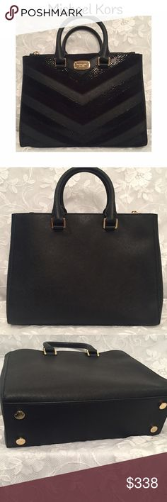 Michael Kors medium satchel in black leather! This is a gorgeous Michael Kors medium bag that can be worn as a cross-body/shoulder bag or carried with 2 handles as a satchel. It has a place for everything....center large compartment with 4 interior pockets, a place to hang keys and magnetic closure....large size side zippered pocket....and another large side pocket with magnetic closure! It beautiful gold accent hardware. It comes with a dust bag (see picture)! MICHAEL Michael Kors Bags…