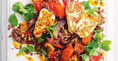 Harissa roast carrot, quinoa and haloumi salad. Sprinkling the salad with a toasted seed mix adds crunch, texture and flavour. Vegetarian Salad Recipes, Veggie Recipes, Great Recipes, Healthy Recipes, Dinner Recipes, Favorite Recipes, Savoury Recipes, Vegetarian Cooking, Veggie Food