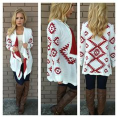 Red geometric design white cardigan, skinny and long boots