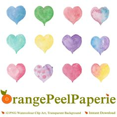Watercolour Hearts, Heart Clip Art, Love Clipart, Watercolor Vector, Heart PNG, Intstant Download, Digital Download, Sweetheart Images, Art by OrangePeelPaperie on Etsy