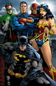 Green Lantern, Superman, The Flash, Wonder Woman and Batman - The Justice League Arte Dc Comics, Marvel Comics, Hero Marvel, Dc Heroes, Comic Book Heroes, Comic Books Art, Comic Art, Justice League, Hq Dc