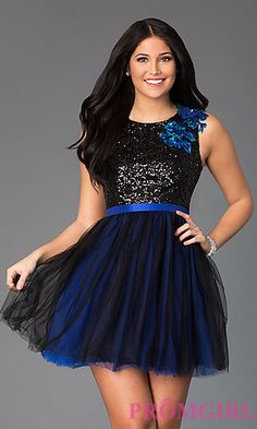 Short Sleeveless Scoop Neck Dress with Sequin Bodice at PromGirl.com $89.00