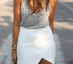 fab skirt with casual top = instant dinner or going out outfit!