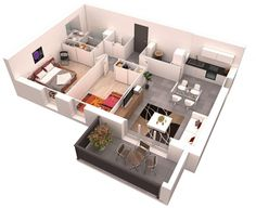 1 Bedroom Apartment Floor Plans 3d one bedroom house plans 3d - חיפוש ב-google | new home ideas