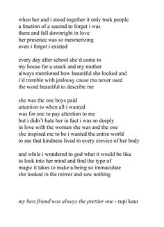 this poem makes me so happy even though its kind of sad at times because i just think of my best friend and how she sent this and it just
