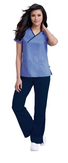 "Urbane Ultimate: 9407 ""Mandi"" Crossover Top, seen here in Ceil Blue with Navy trim.  My Scrubs!"