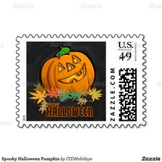 Cute halloween party 525x525 square paper invitation card by itd spooky halloween pumpkin postage stopboris Choice Image