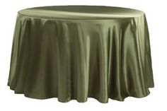 """Satin 108"""" Round Tablecloth - Willow Green"""