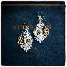 Check out similar pairs! Tatting Earrings, Tatting Jewelry, Lace Jewelry, Crochet Earrings, Handmade Jewelry, Needle Tatting, Tatting Lace, Tatting Tutorial, Yarn Thread
