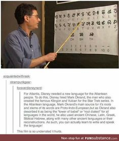 Disney's Atlantis Atlantean language. I love this movie so much, and it's so underrated. Disney And Dreamworks, Disney Pixar, Walt Disney, Punk Disney, Disney Facts, Disney Memes, Disney Love, Disney Magic, Disney Stuff