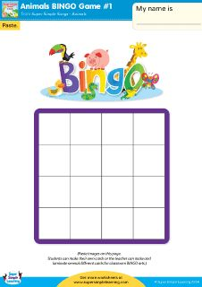 Practice animal vocabulary with these make-your-own Bingo cards from Super Simple Learning. #kindergarten #earlyelementary #ESL