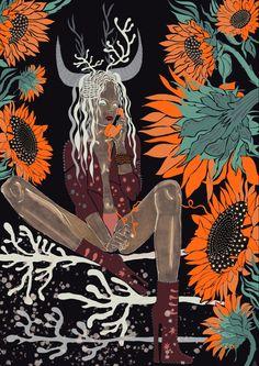 Procreate, sunflowers, beautiful and dramatic lady The Darkest, Past, Moose Art, Digital Art, Sunflowers, Animals, Inspiration, Beautiful, Inspired