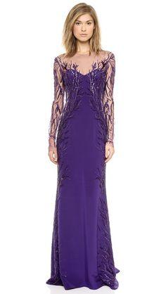 Reem Acra Длинное вечернее платье с вышитой имитацией горловины и длинными рукавами