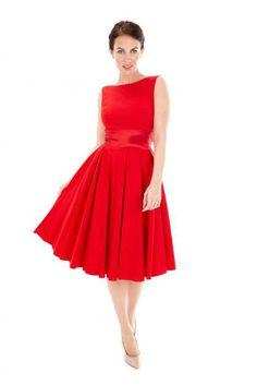 (Shape) >Riviera Red Swing Dress by the pretty dress company
