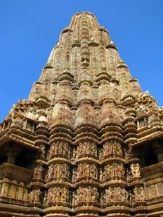 Temples of Khajuraho, one of the most popular tourist destinations in India, and famous for their erotic sculptures. Unesco World Heritage.
