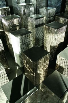 universal-blueprint:    For his sculpture Untitled (Skyline), 2007, the artist Kader Attia used refrigerators clad in mirrored tiles to create the illusion of a dense, glittering metropolis.