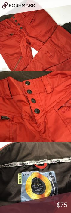 B for Burton dry ride ski / snowboard shell pants Excellent condition . They were used just once on a ski trip. Size medium. Brick orange color. Amazing weather proof thin shell pants. Burton Pants